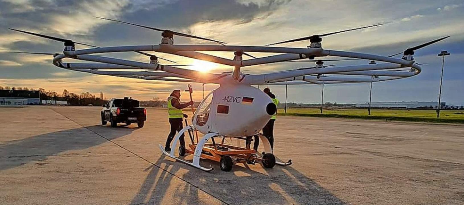 Einer der Volocopter auf dem Lahrer Flugplatz   | Foto: Büro Weiß