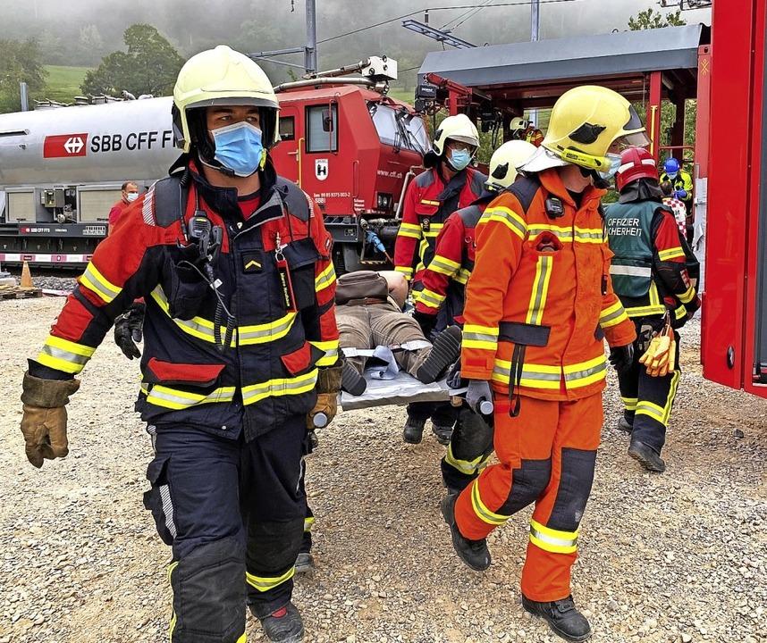 Das Ziel des simulierten Großereigniss...und Evakuierungsabläufe zu überprüfen.  | Foto: Kanton Aargau