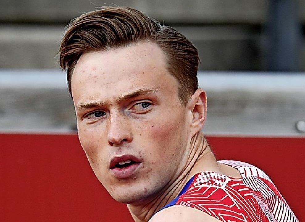 Schnupperte am Weltrekord über 400 Meter Hürden: der Norweger Karsten Warholm    Foto: CHRISTINE OLSSON (AFP)