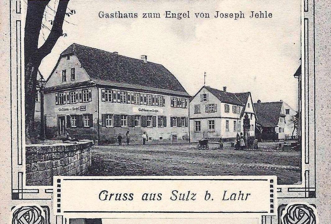 Das Gasthaus Engel auf einer Ansichtskarte von 1916    Foto: Manfred Eble