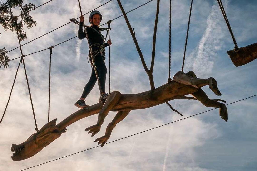 Ein wenig Mut braucht es schon, um sic...s zu 15 Meter hohen Parcours zu wagen.  | Foto: Konstantin Wietzel (Fundorena)