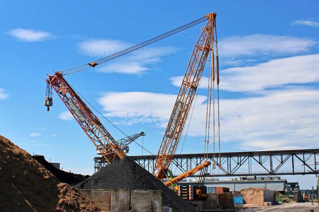 Der neue Schwerlastkran im Hafen Birsf...nsturz veränderte das Profil im Hafen.  | Foto: Rolf Reißmann