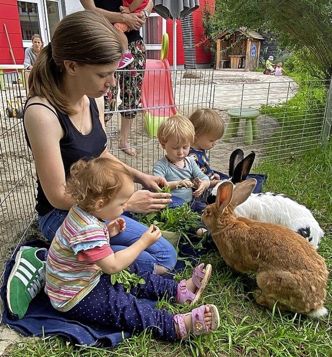 <BZ-FotoAnlauf>Osypka Kinderhaus: </BZ...e Kids haben  Freude an den Kaninchen.    Foto: Kinderhaus