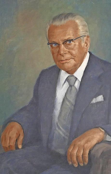 Das Porträt von Karl Heitz, OB von 1948 bis 1975,  hat Fritz Dold 1976 gemalt.    Foto: Helmut Seller