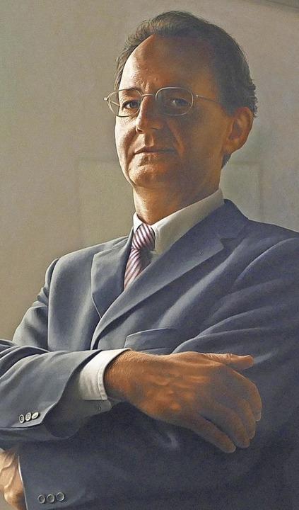 OB Wolfgang Bruder (1990 bis 2002) wur...ipp im hyperrealistischen Stil gemalt.    Foto: Helmut Seller