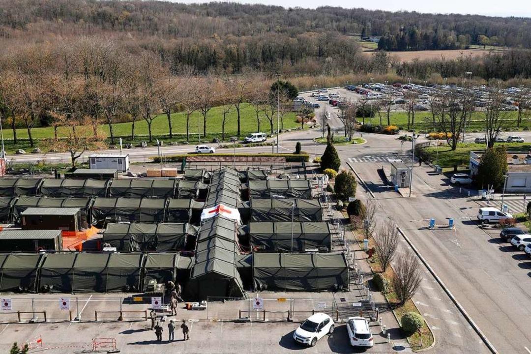 Das Feldlazarett in Mulhouse Ende März.    Foto: Jean-Francois Badias (dpa)