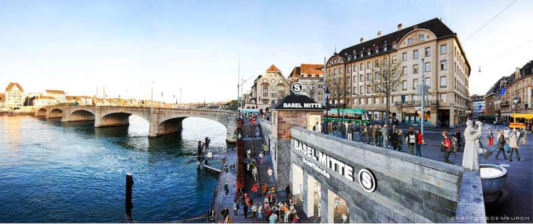Eine Visualisierung der an der Basler ...n neuen S-Bahn-Haltestelle Basel-Mitte  | Foto: ZVG