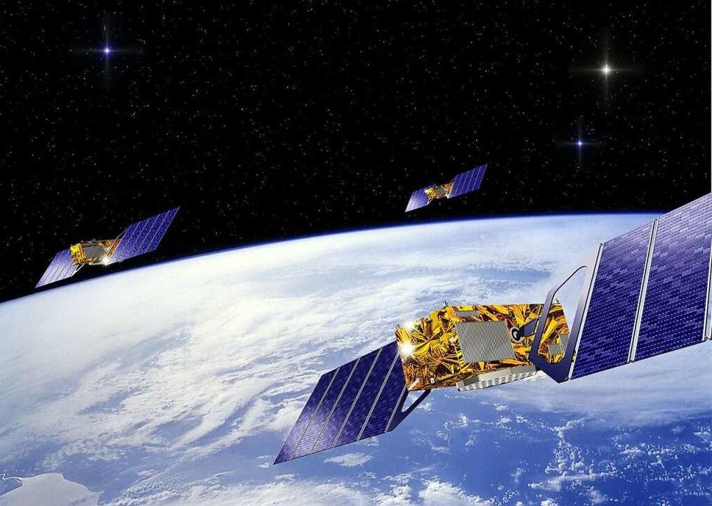 Visualisierung von Satelliten im Weltraum (Symbolbild).  | Foto: J.HUART