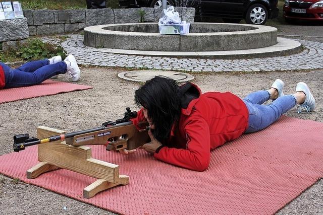 Treffer mit dem Laser-Gewehr