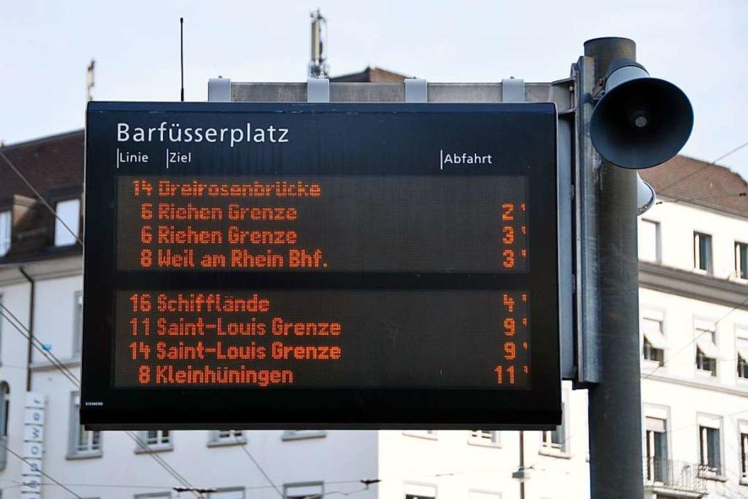 Echtzeit-Anzeigetafel in Basel    Foto: Daniel Gramespacher