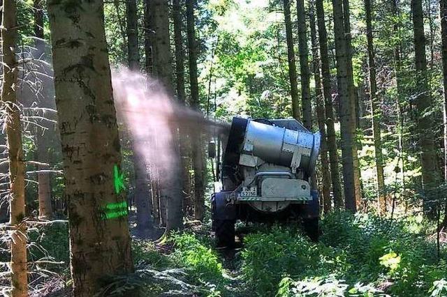 Kalk wird zum Schutz vor sauren Böden in Wälder bei Freiburg geblasen