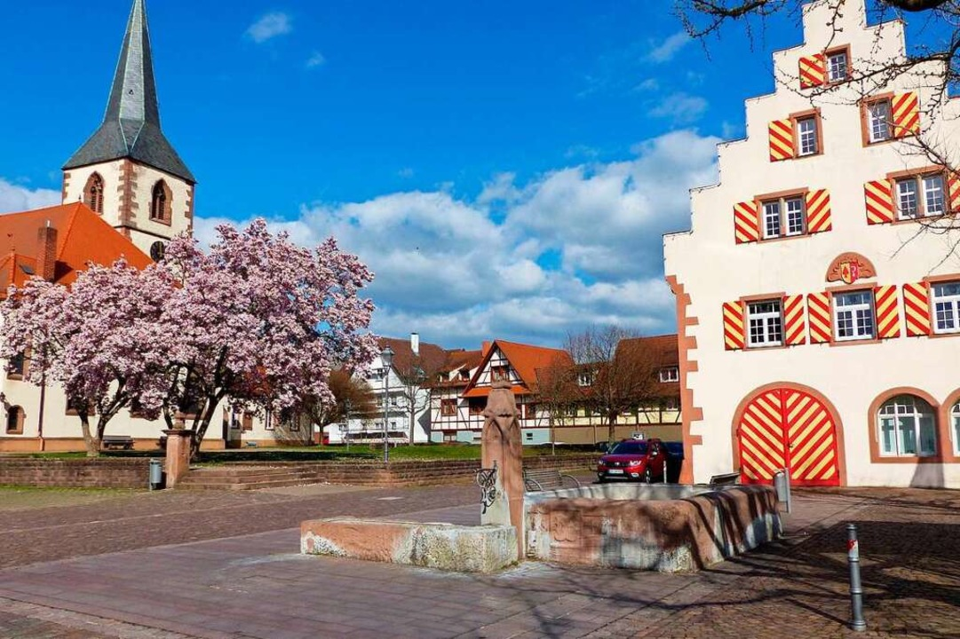 Der Stockbrunnen vor dem Friesenheimer Rathaus  | Foto: Ekkehard Klem