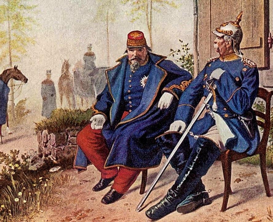 Ende eines Kaiserreichs: Napoléon III....Otto von Bismarck am 2. September 1870  | Foto: Wilhelm Camphausen