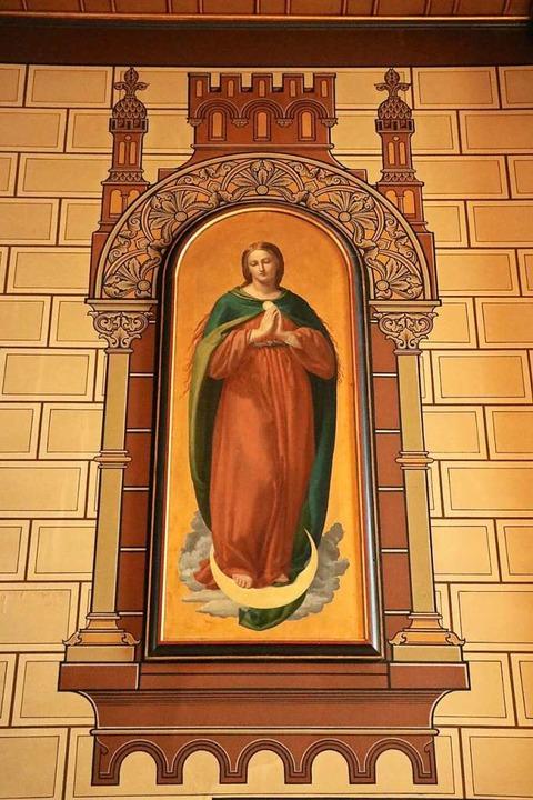 Das Marienbild von Amalie Bensinger an...chen Kirche ist noch bestens erhalten.  | Foto: Martha Weishaar