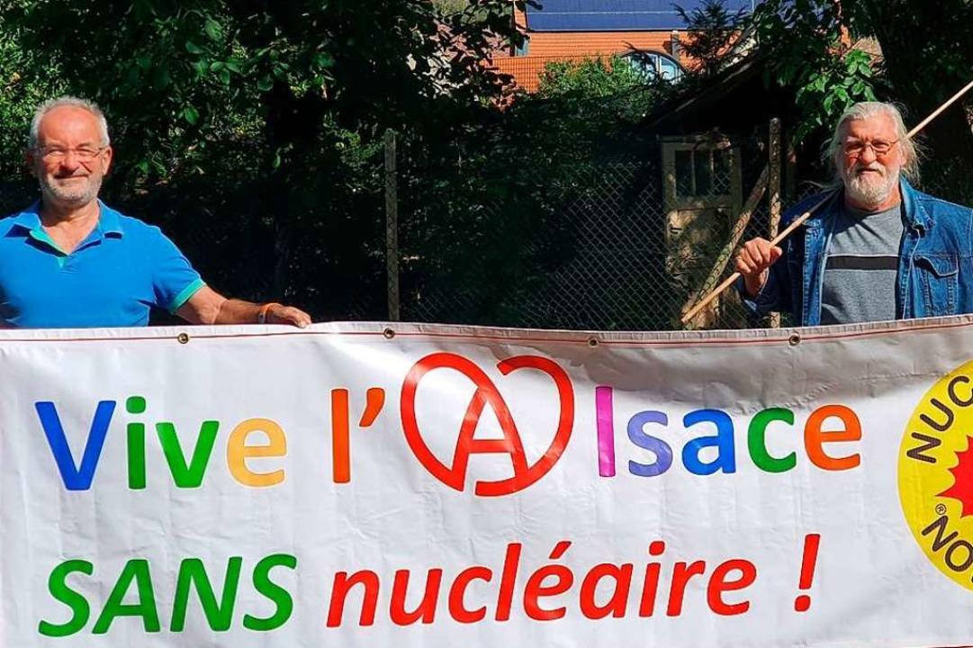 Gemeinsam für ein atomfreies Elsass un... Lucien Jenny (links) und Gustav Rosa   | Foto: Julius Wilhelm Steckmeister