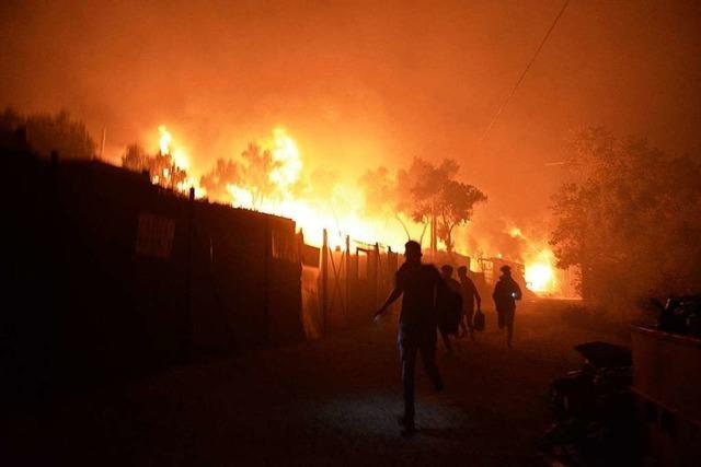 Feuer zerstört Flüchtlingslager Moria auf Lesbos