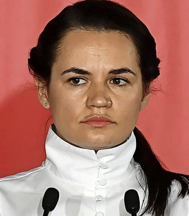 Swetlana Tichanowskaja am Mittwoch in Polen  | Foto: Piotr Nowak (dpa)