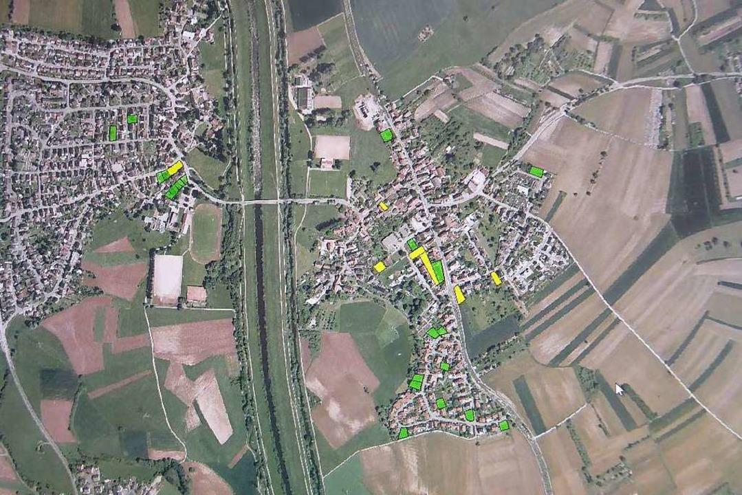 Gelb sind bebaubare Teilflächen, grün ...as Geodatenportal der Stadt Offenburg     Foto: Helmut Seller