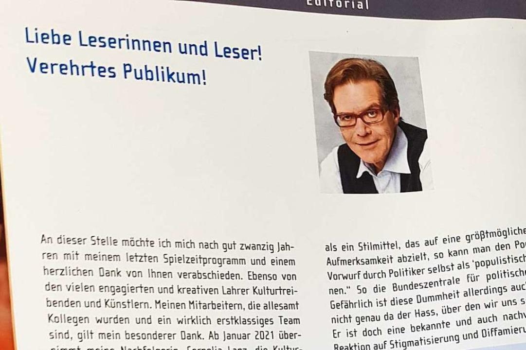 Das Editorial des neuen Spielzeit-Programms  | Foto: Christian Kramberg