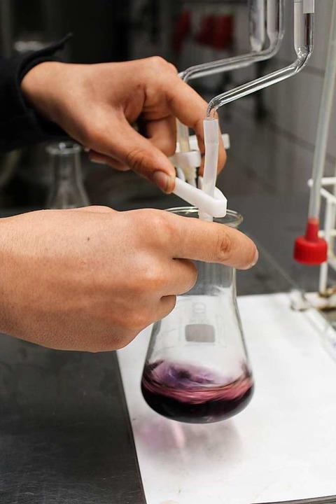 Im Weinkeller überprüft Raphael Pohl i... freien schwefligen Säurebestandteile.  | Foto: Annika Sindlinger
