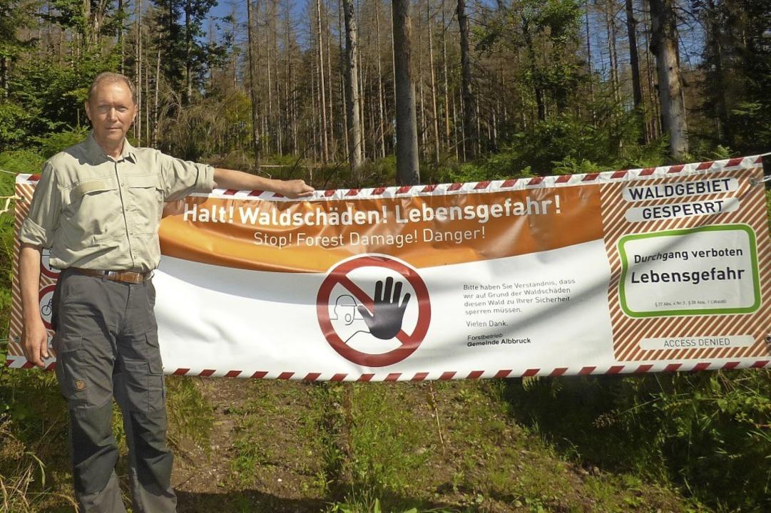 Waldumbau im Revier Albbruck: Förster ...runter soll der neue Wald nachwachsen.    Foto: Gerber, Andreas