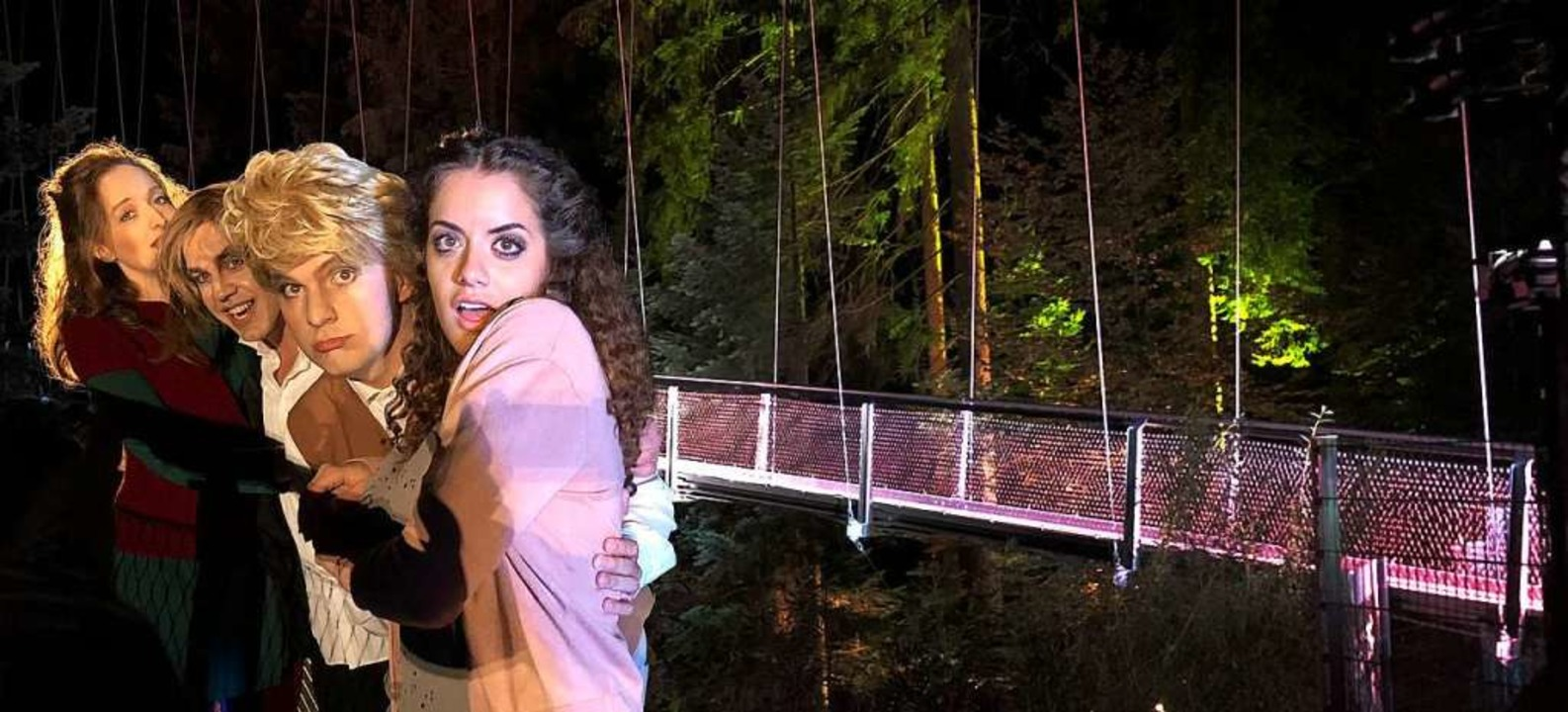 Belcanto auf der Wildline-Hängebrücke:...zo Liberali, Francesca Di Sauro (v.l.)  | Foto: Rossini Festival