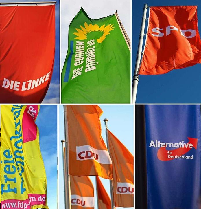 Flaggen der größten deutschen Parteien    Foto: Julian Stratenschulte