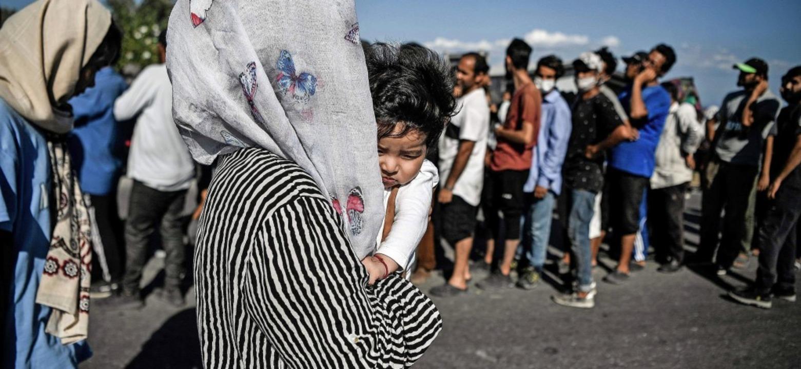 Obdachlos gewordene Schutzsuchende auf Lesbos    Foto: LOUISA GOULIAMAKI (AFP)