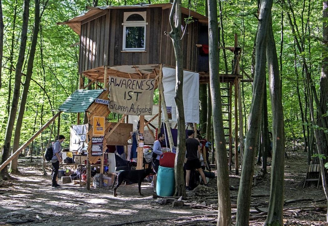 Umweltschützer im Camp im Dannenröder Forst  | Foto: Boris Roessler (dpa)