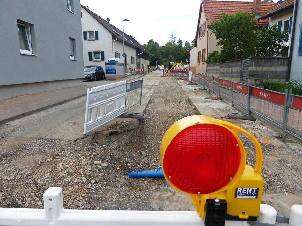 So sah die Baustelle im Ortskern Ende August aus.  | Foto: Andrea Gallien