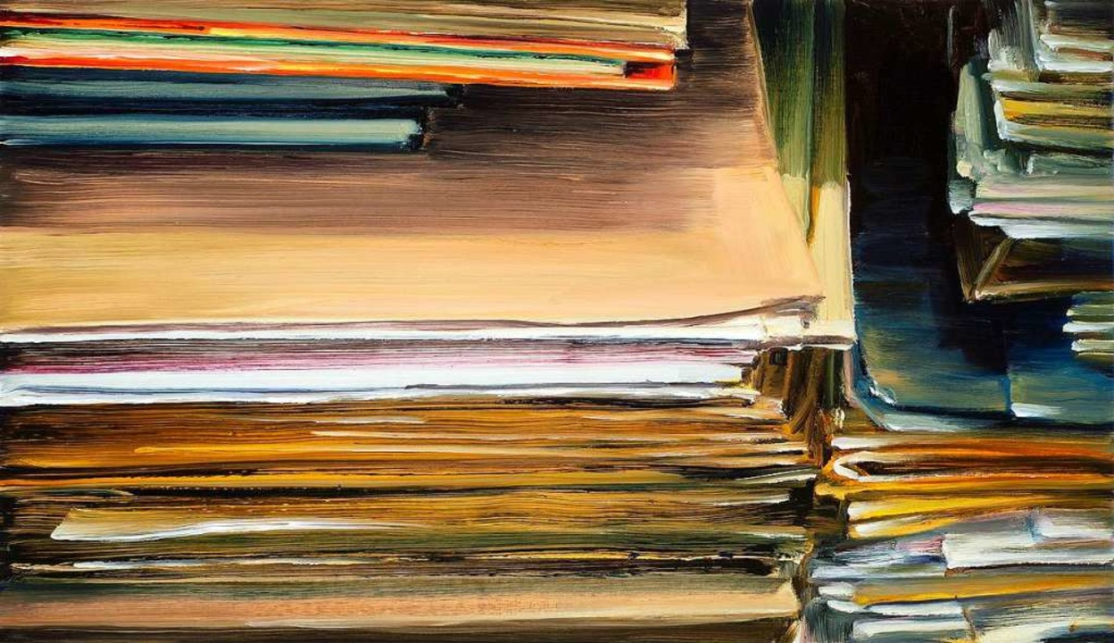 "Die Galerie Baumgarten zeigt Cornelius... Ölgemälde ""Papierstapel"".    Foto: Galerie Baumgarten"