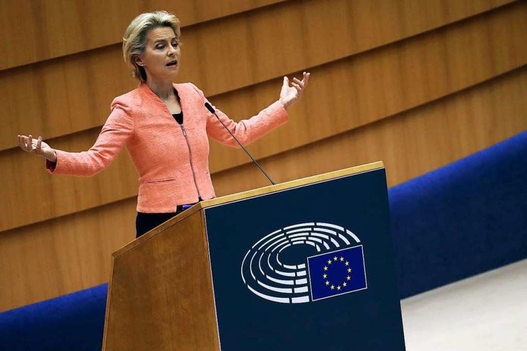 EU-Kommissionspräsidentin Ursula von d...Lage der Union vor dem Europaparlament    Foto: Francisco Seco (dpa)