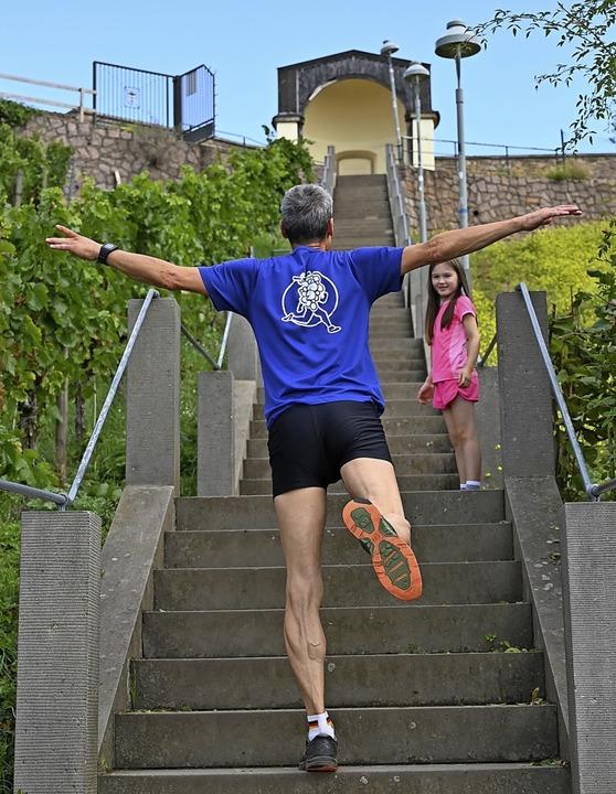 Spaß muss zwischendurch auch mal  drin...führenden Stufen  der Spitzbergtreppe.  | Foto: Privat