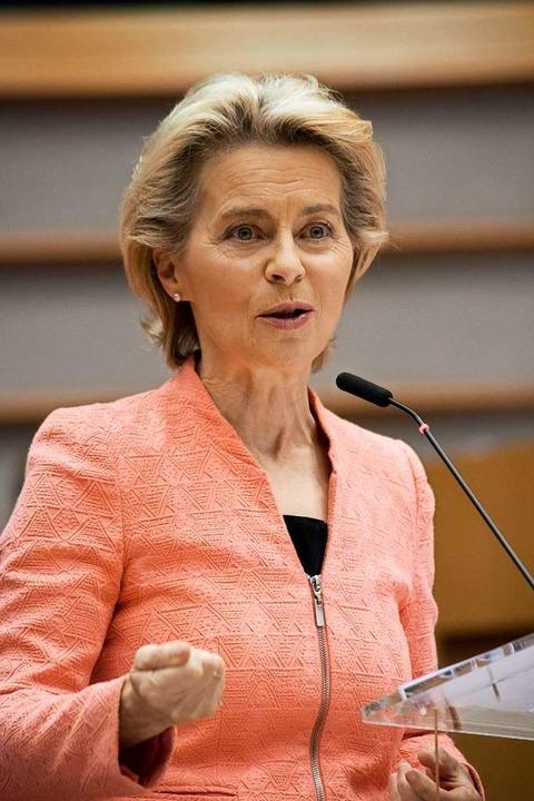 Ursula von der Leyen am Mittwoch bei i...zur Lage der Union im Europaparlament.    Foto: - (dpa)