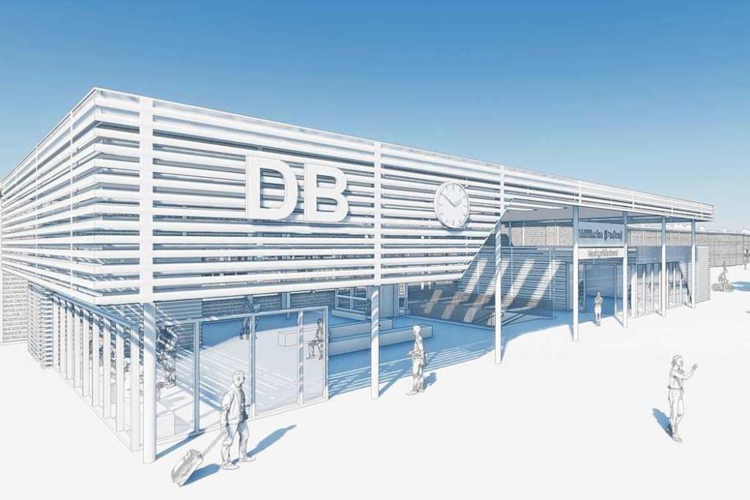 Eine Visualisierung des derzeitigen Ar...läne für den neuen Müllheimer Bahnhof.  | Foto: Deutsche Bahn