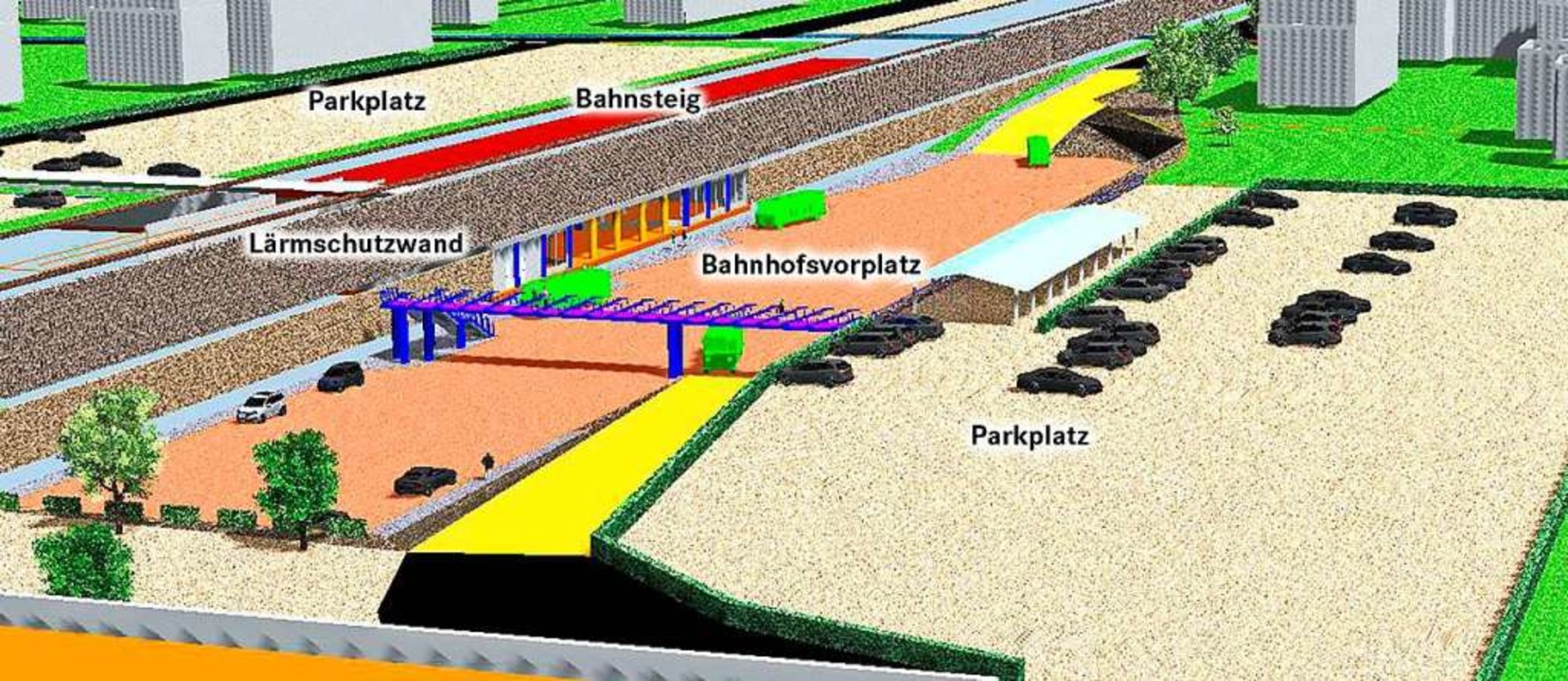 Die Visualisierung zeigt den alternati...Planung des neuen Müllheimer Bahnhofs.  | Foto: Nils Höck/AGUS