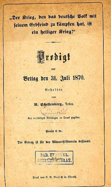 Die Predigt im Druck  | Foto: Dreiländermuseum