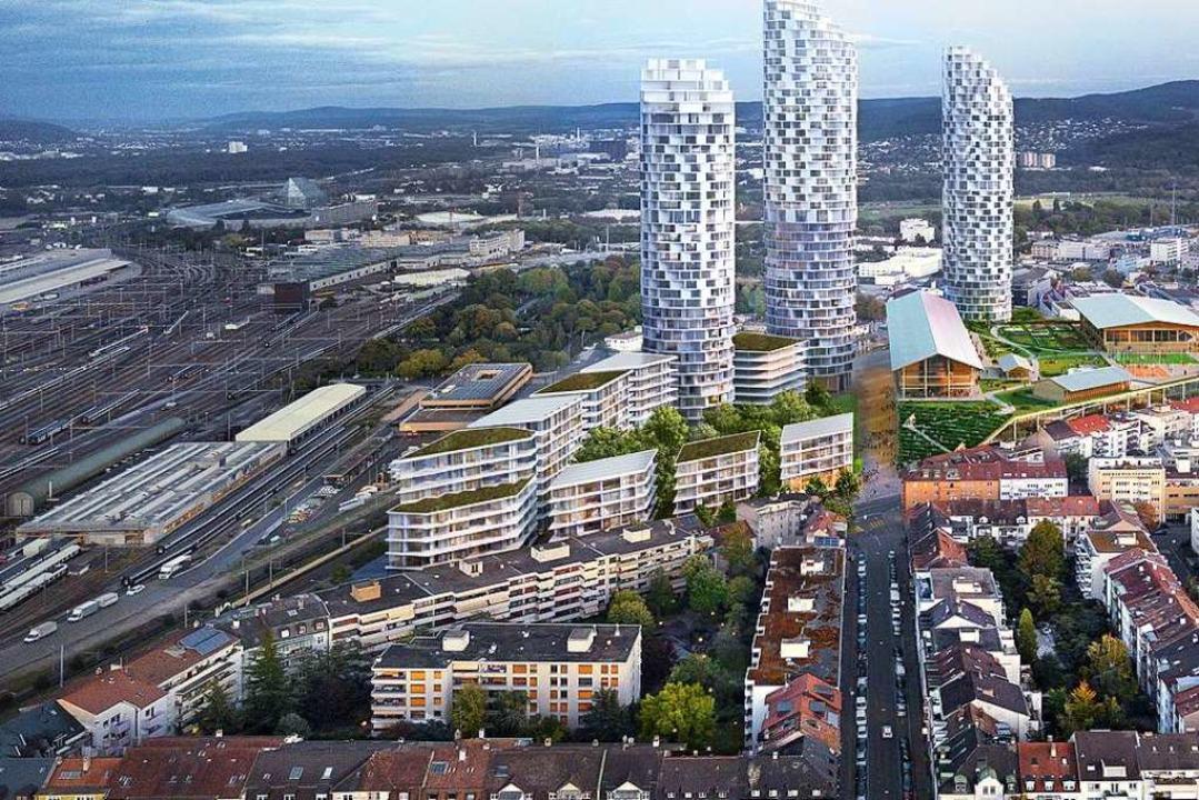 So soll das neue Quartier im Dreispitz...szentrums vor den Wohntürmen aussehen.  | Foto: Herzog & de Meuron