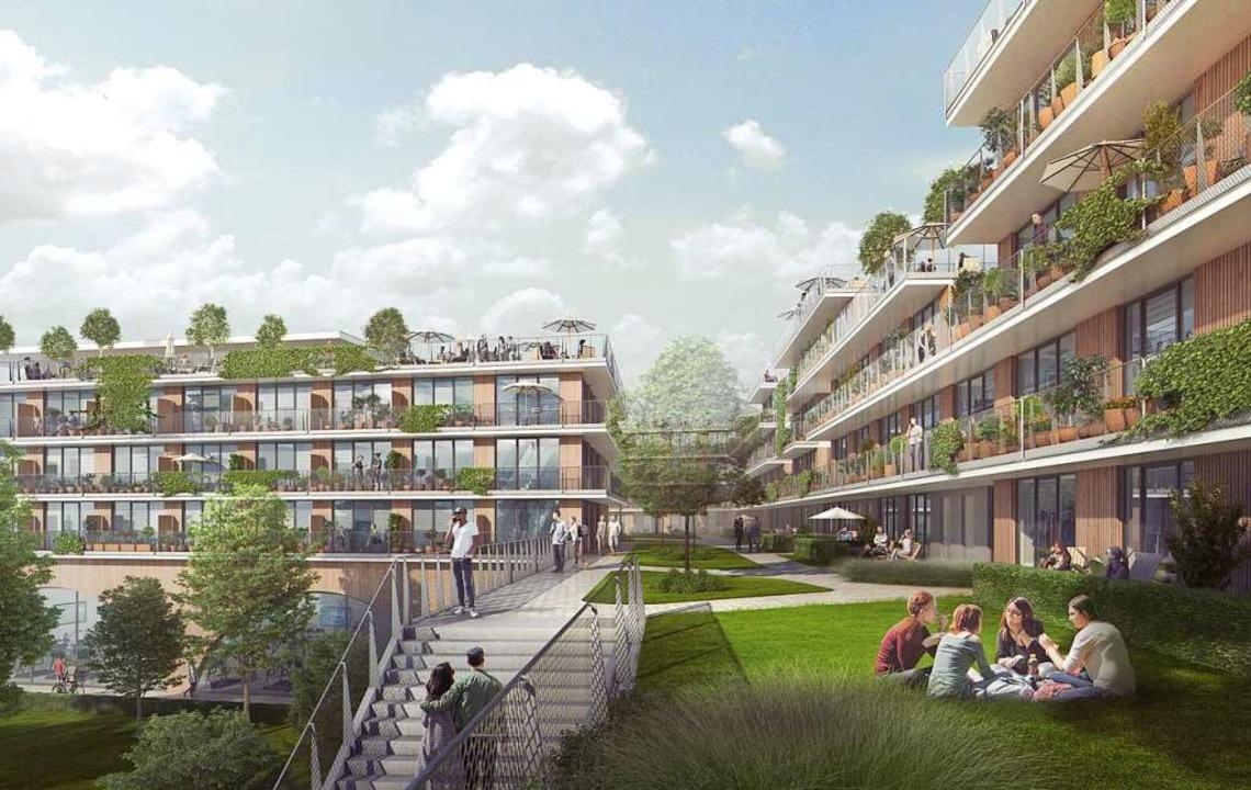 Wohnungen statt Baumarkt: So soll das ...kt an der Basler Landstraße aussehen.     Foto: Firma Unmüssig