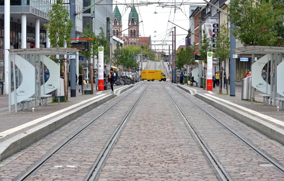 Die Gleise der Freiburger Stadtbahn bleiben am Dienstag unbenutzt.  | Foto: Michael Bamberger