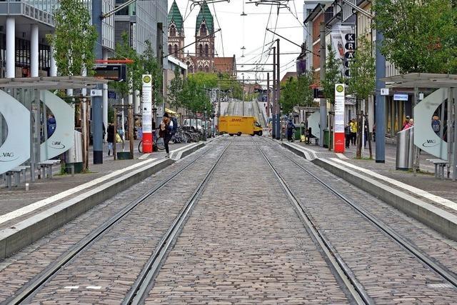 Leere Schienen in Freiburg