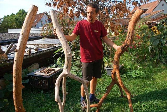 Frank Bauer verwendet für seine Kunstwerke Totholz