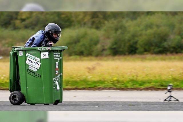 Neuer Weltrekord für rasende Mülltonne