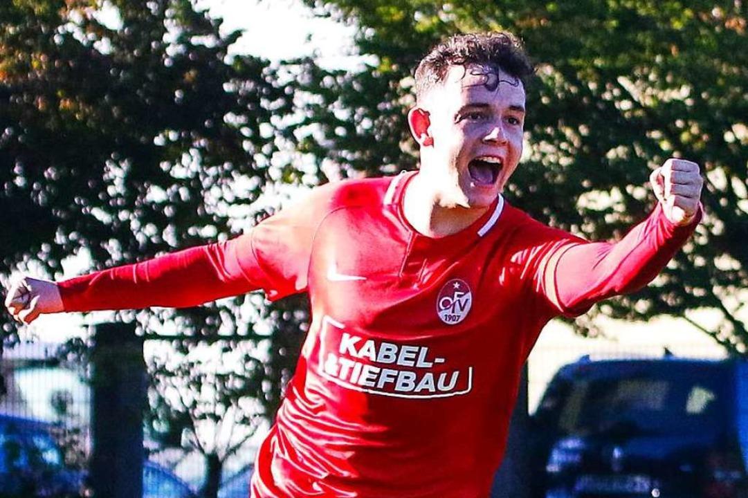 Erster Auswärtssieg der Saison: Fabio ...zielte das 3:1 für den Offenburger FV.  | Foto: Matthias Konzok