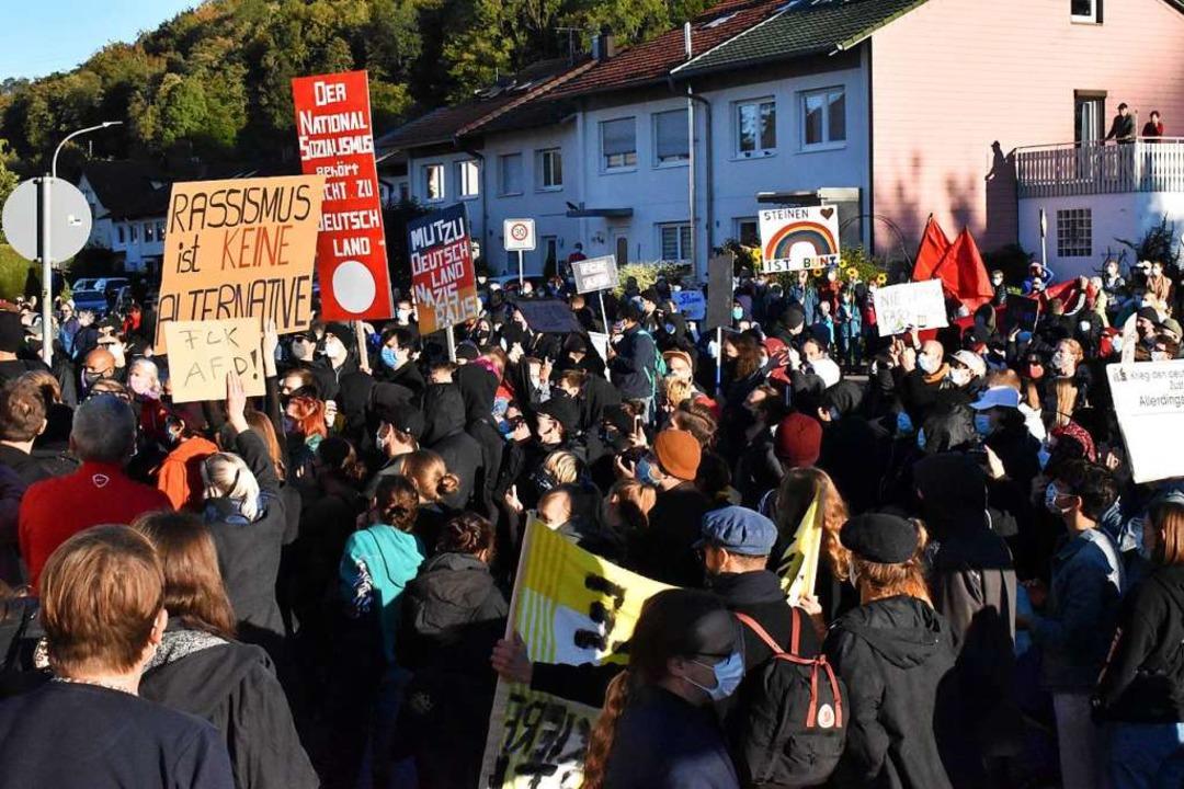 Sehr viele waren dem Aufruf zur Demons...n gegen die AfD-Veranstaltung gefolgt.  | Foto: Thomas Loisl Mink