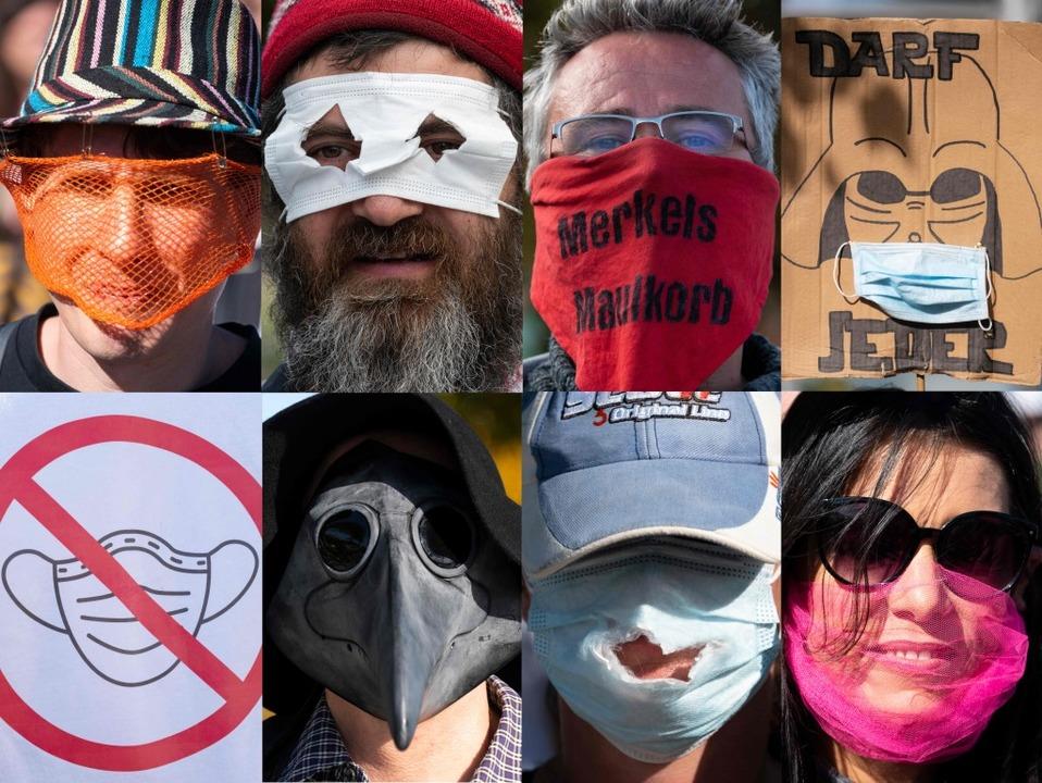 Solche Masken wurden aus Protest am vergangenen Samstag in Konstanz getragen.    Foto: SEBASTIEN BOZON (AFP)