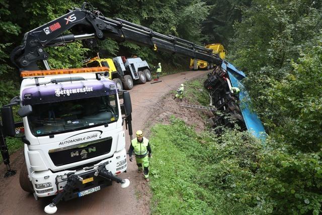 Beladener Langholzlaster stürzt in den Wald – Fahrer leicht verletzt – rund 20 000 Euro Schaden