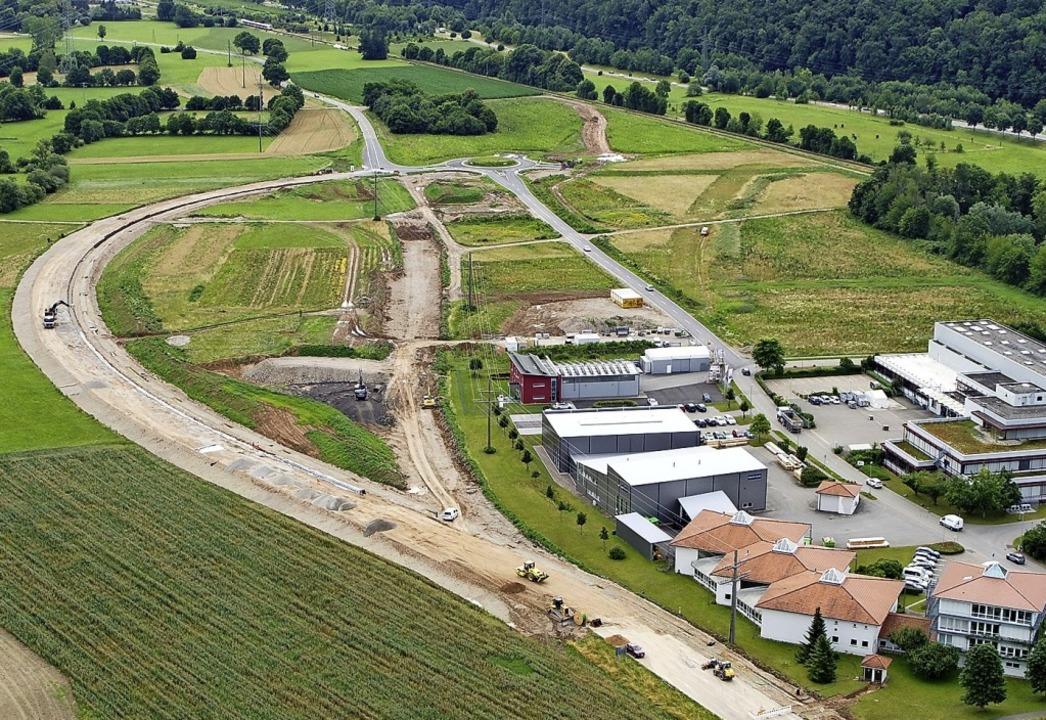 Blick auf das Gelände, auf dem das Zentralklinikum entstehen soll.  | Foto: Landratsamt Lörrach, FB Vermessung & Geoionformation