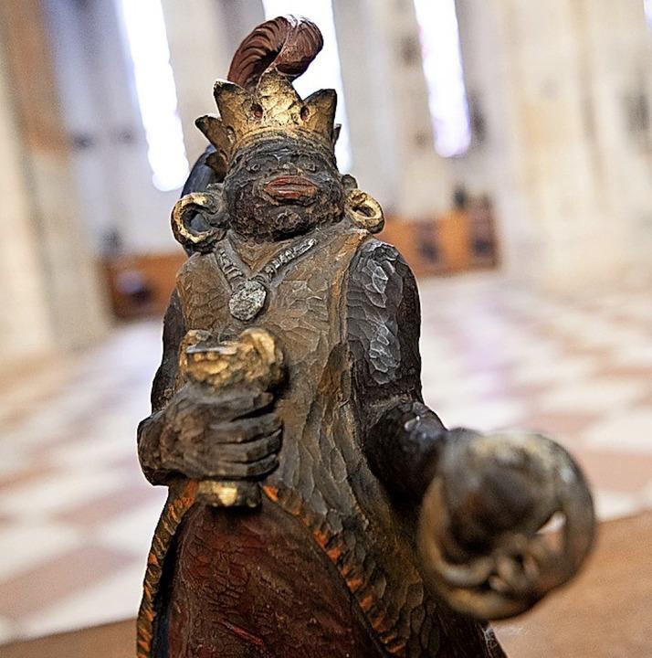 Stereotype Darstellung des Königs  Melchior in der Ulmer Krippe  | Foto: Sebastian Gollnow (dpa)