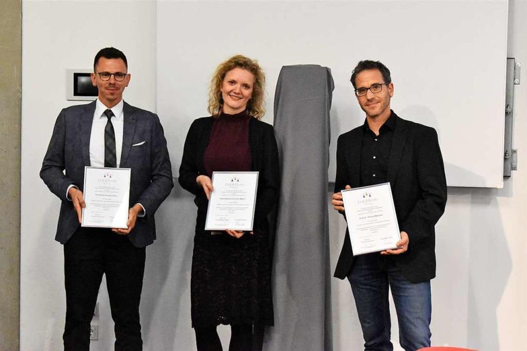 Kim Daniel Konrad (von links), Anna Ka...zept einer innovativen Reha-Plattform.    Foto: Thomas Loisl Mink